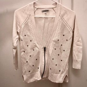 White V Neck Zip Cardigan with Grommet Details
